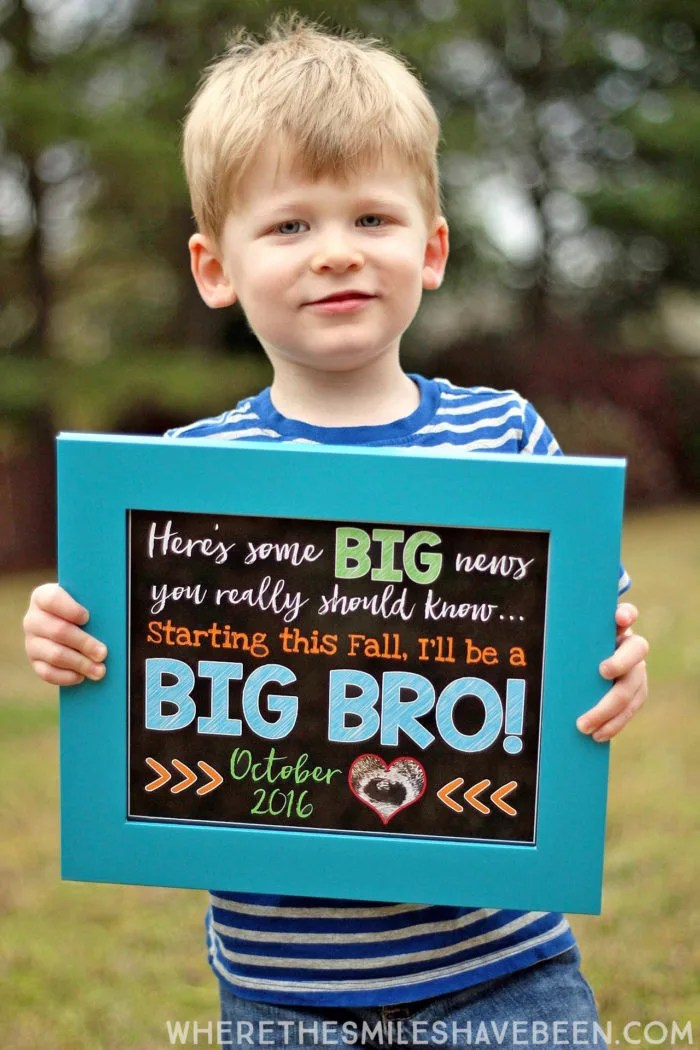 Sibling Pregnancy Announcement Chalkboard Sign – Sibling Announcing New Baby