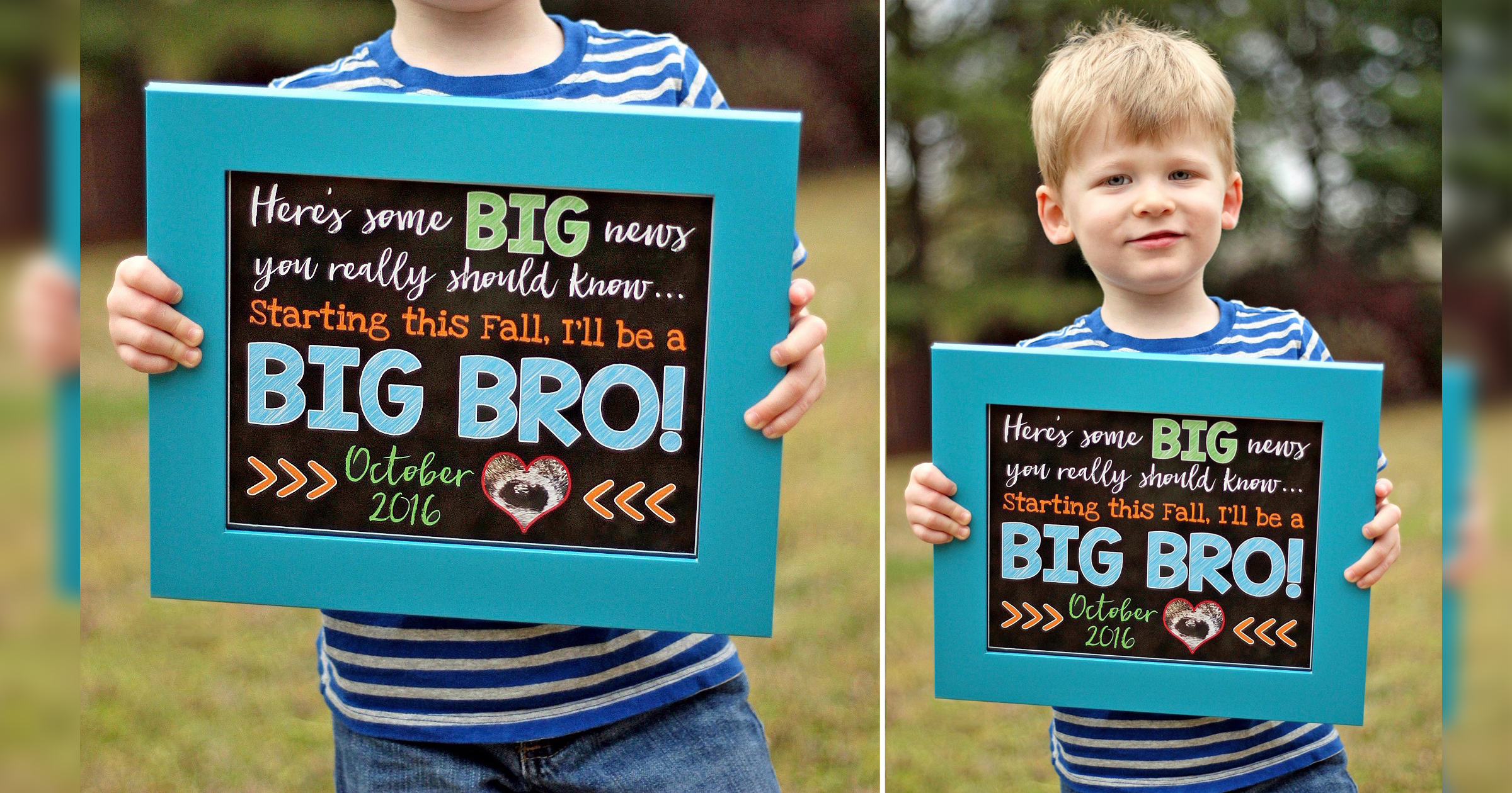 sibling pregnancy announcement chalkboard