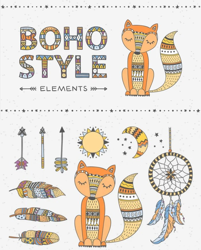 Boho Style Elements Graphic Pack