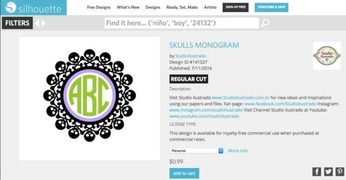 Skulls Monogram Silhouette Studio Design