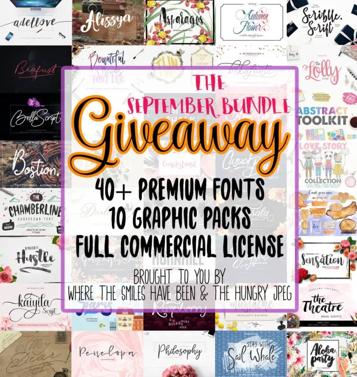 Giveaway for The September Bundle from The Hungry JPEG & Where The Smiles Have Been!