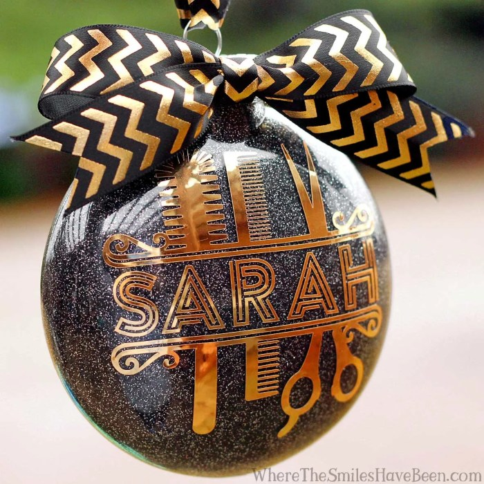 Personalized Glitter Hair Stylist Ornament + Silhouette GIVEAWAY! | Where The Smiles Have Been