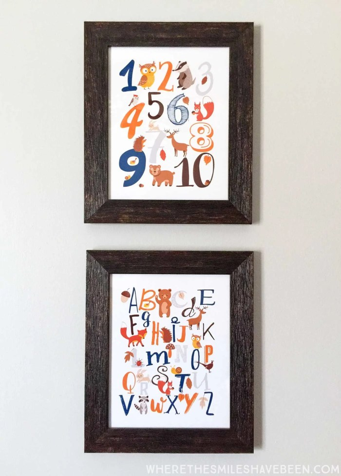 LOVE these prints with the ABC's and 123's in a rustic modern woodland nursery! Take a tour of this navy & orange modern woodland nursery! | Where The Smiles Have Been