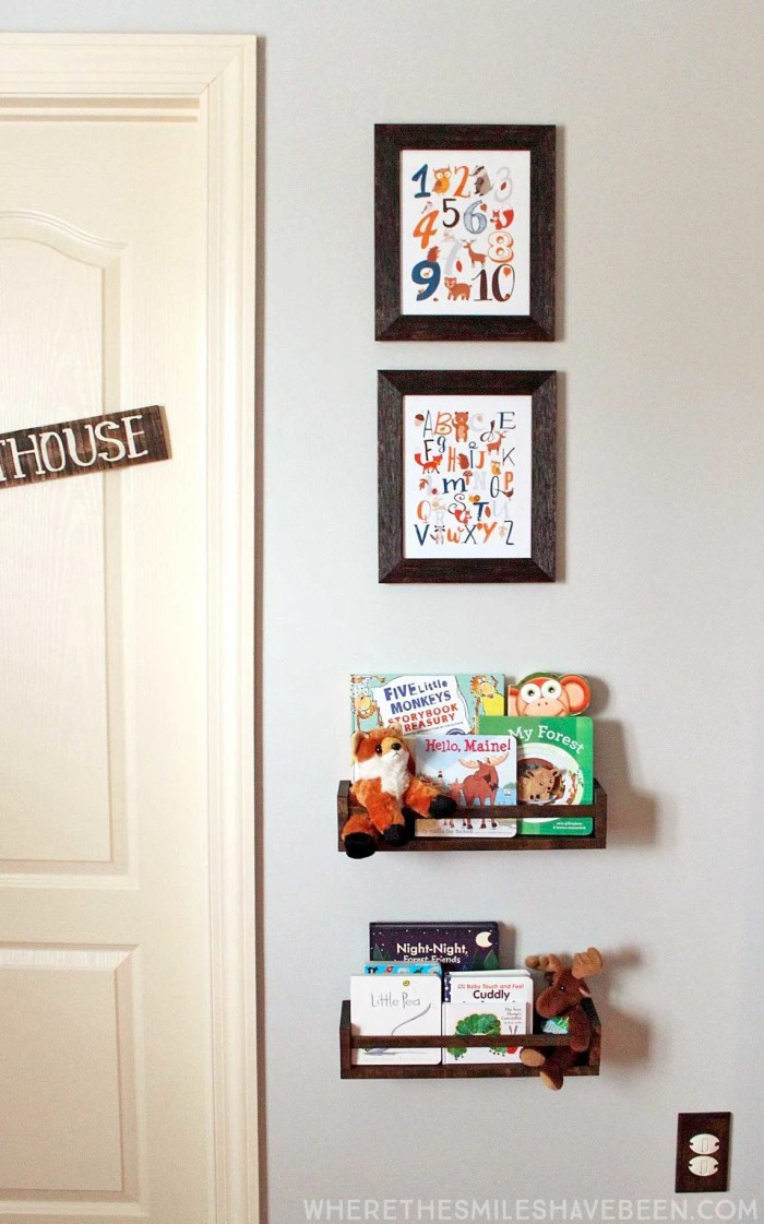 This is the cutest little display in a baby's room! Take a tour of this navy & orange modern woodland nursery! | Where The Smiles Have Been
