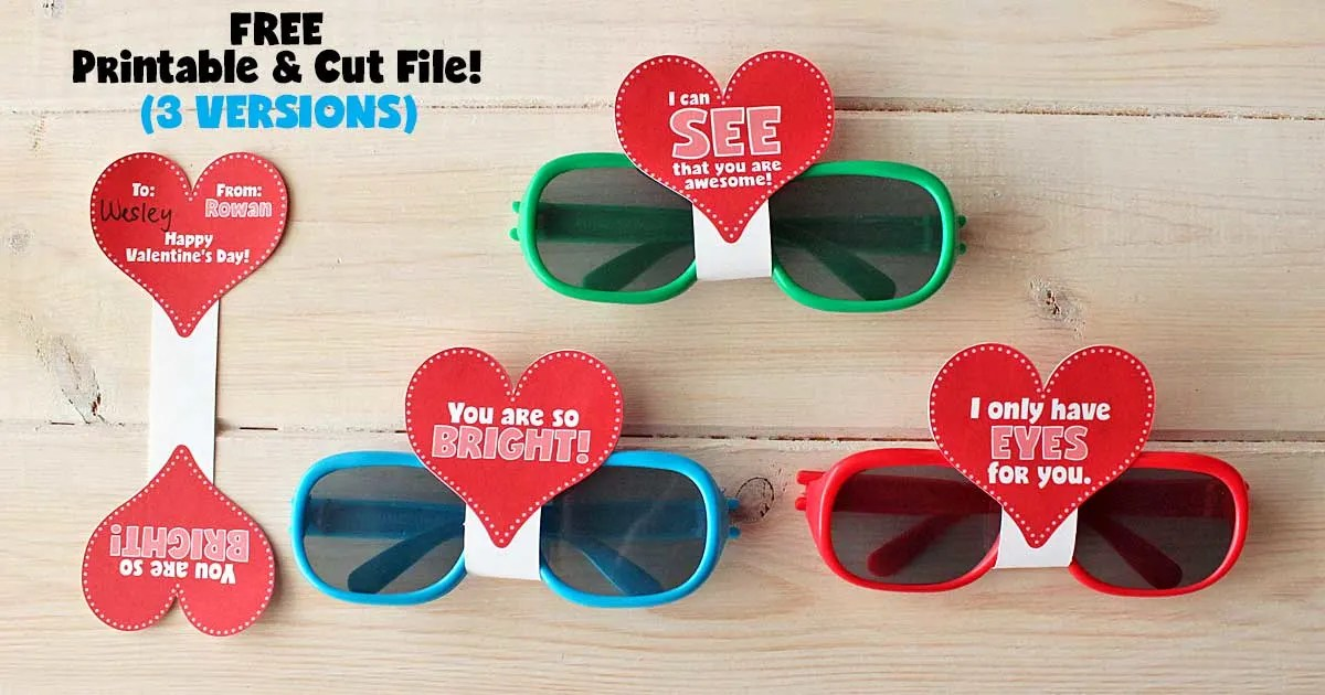 Sunglasses Valentine S Day Cards With Free Printable Cut File