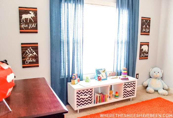 Orange and blue modern woodland nursery.