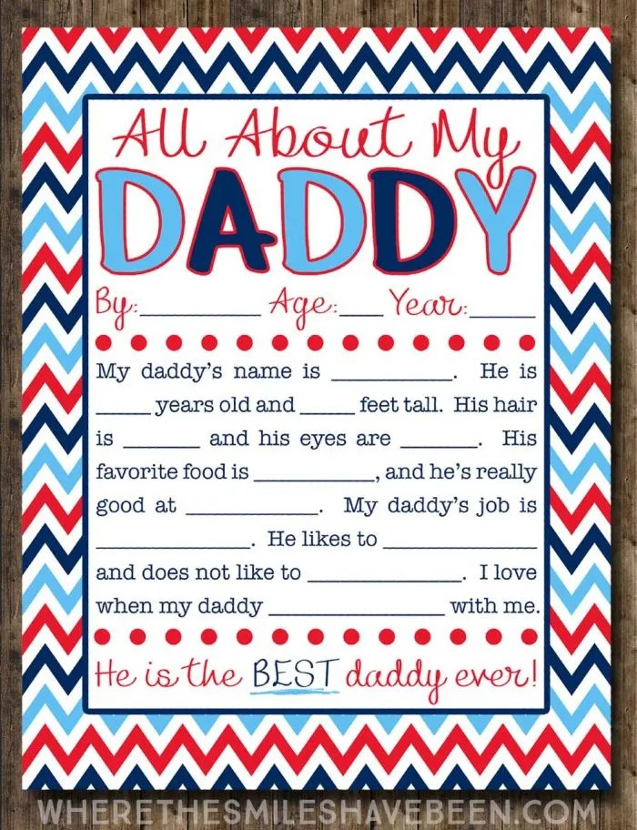 graphic about Dad Questionnaire Printable identify All Above My Daddy Job interview with Cost-free Printable!