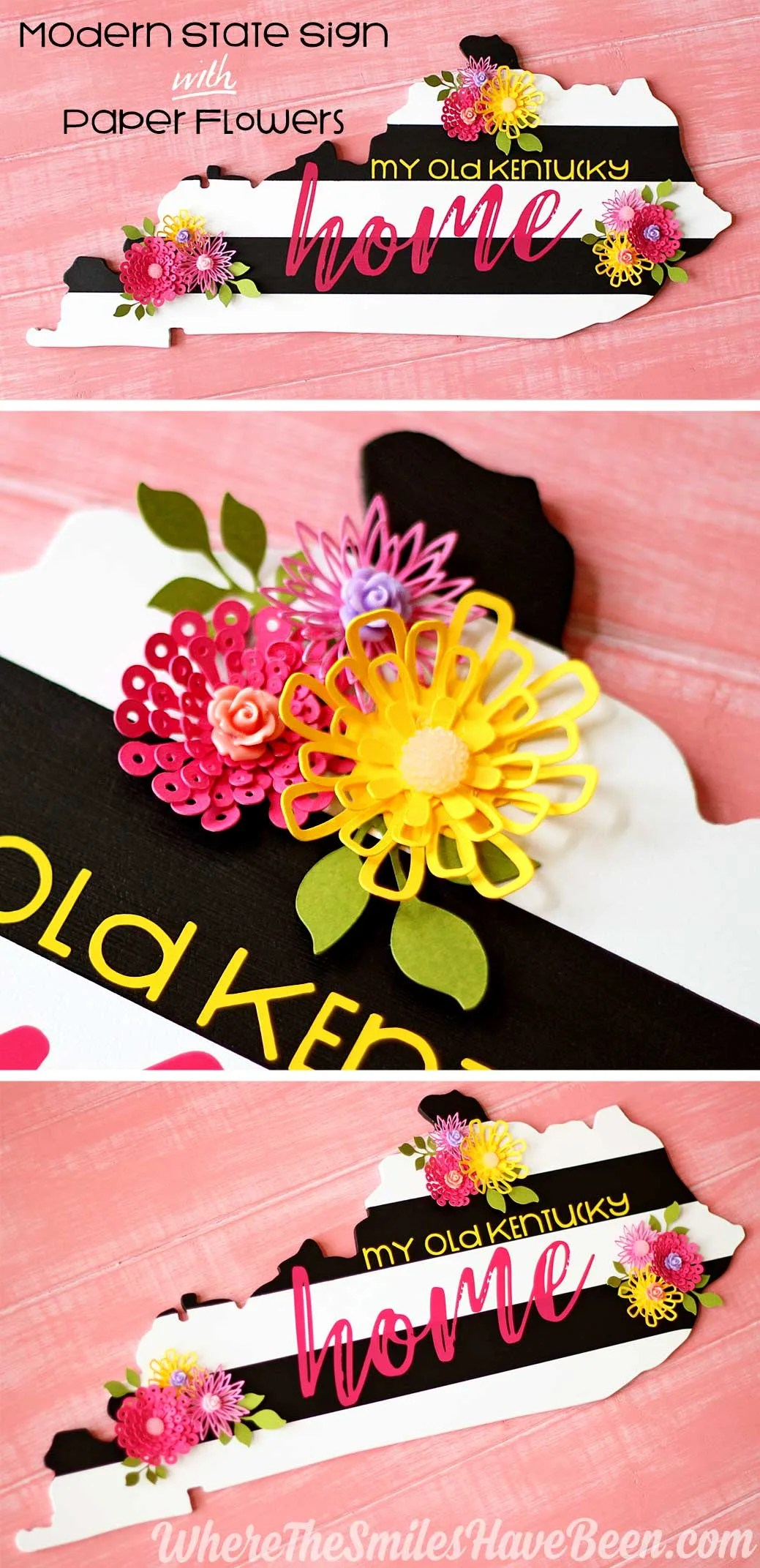 Modern Black & White Striped State Sign with Colorful Paper Flowers! | Where The Smiles Have Been