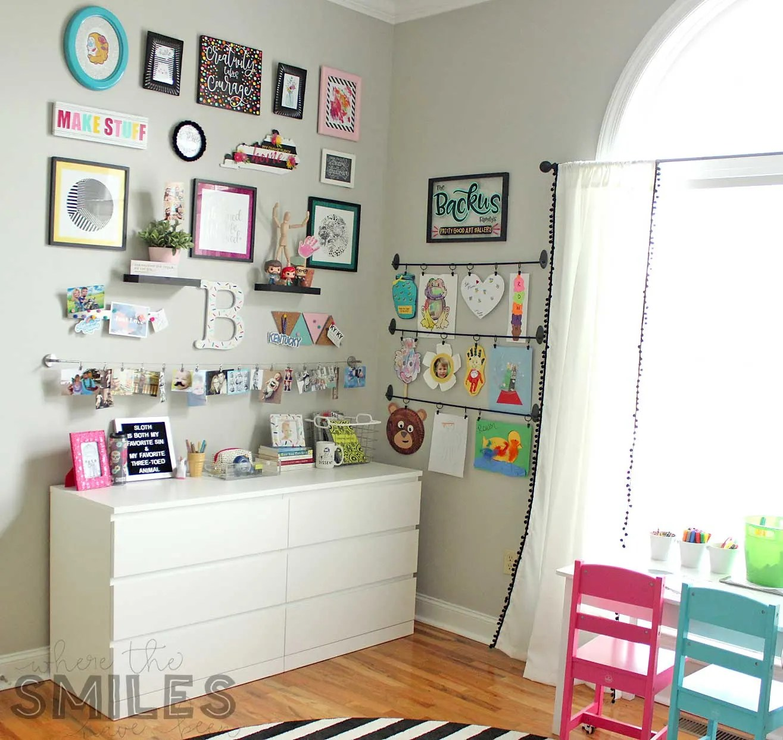Kids Art Display in a craft room corner.