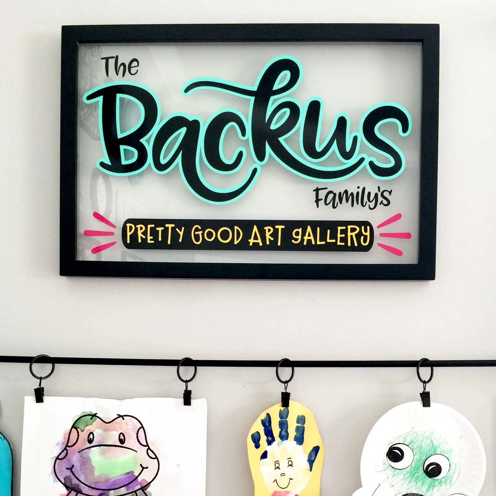Personalized Family Art Gallery Sign for kids art display.