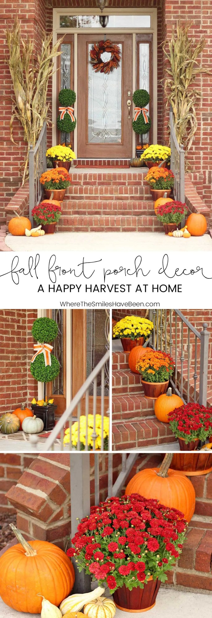 Fall Front Porch Decor: Our Happy Harvest at Home!   Where The Smiles Have Been #fall #porch #pumpkins