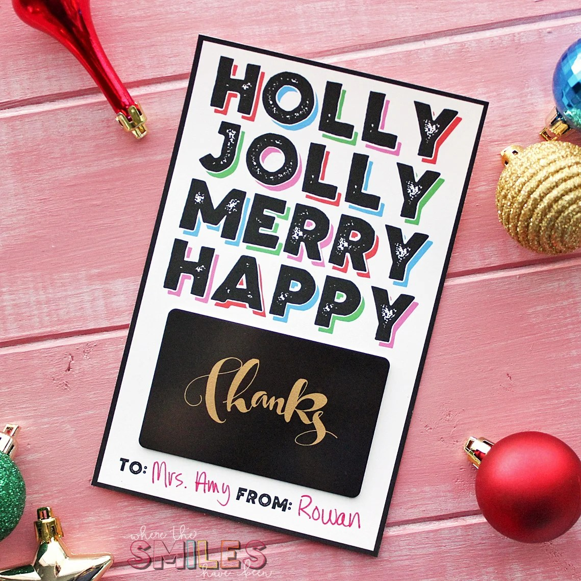 FREE Modern Christmas Gift Card Holder Printable! | Where The Smiles Have Been #Christmas #giftcard #printable
