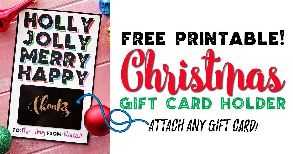 Free Modern Christmas Gift Card Holder Printable