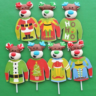 Personalized Ugly Christmas Sweater Lollipop Covers