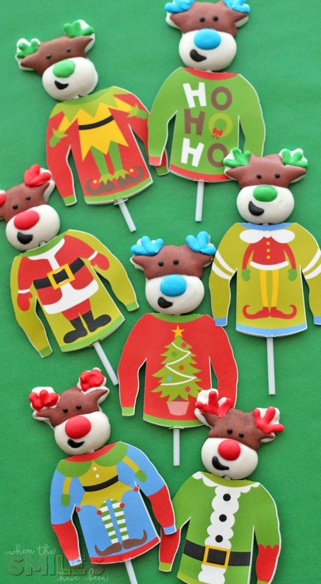 Personalized Ugly Christmas Sweater Lollipop Covers | Where The Smiles Have Been #UglyChristmasSweater #Christmas #lollipop