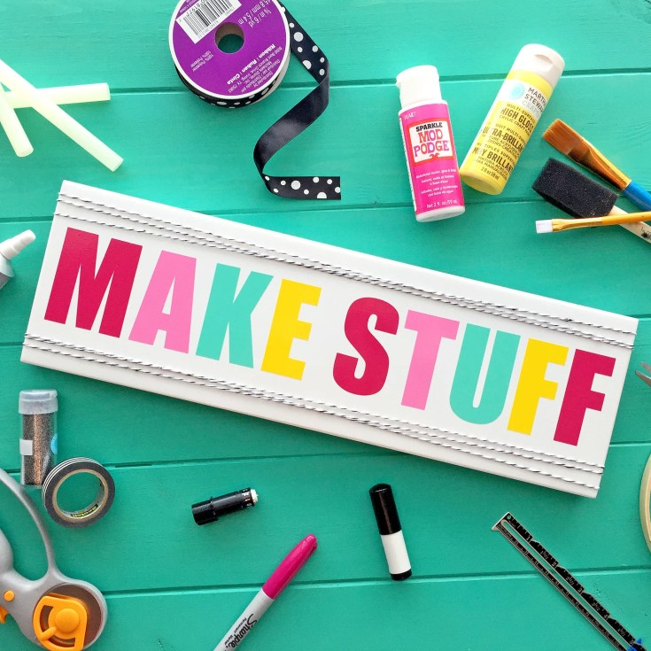 Cute & Colorful 'MAKE STUFF' Craft Room Sign