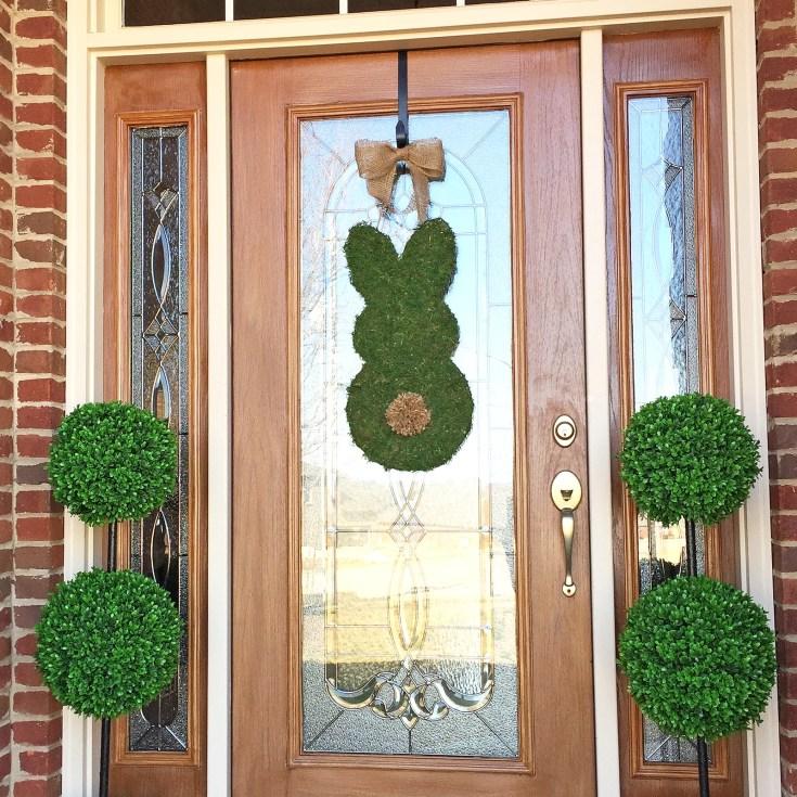 Simple Moss Covered Bunny Door Hanger