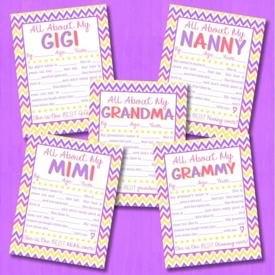 All About My Grandma Interview with FREE Printable {EIGHT Versions}