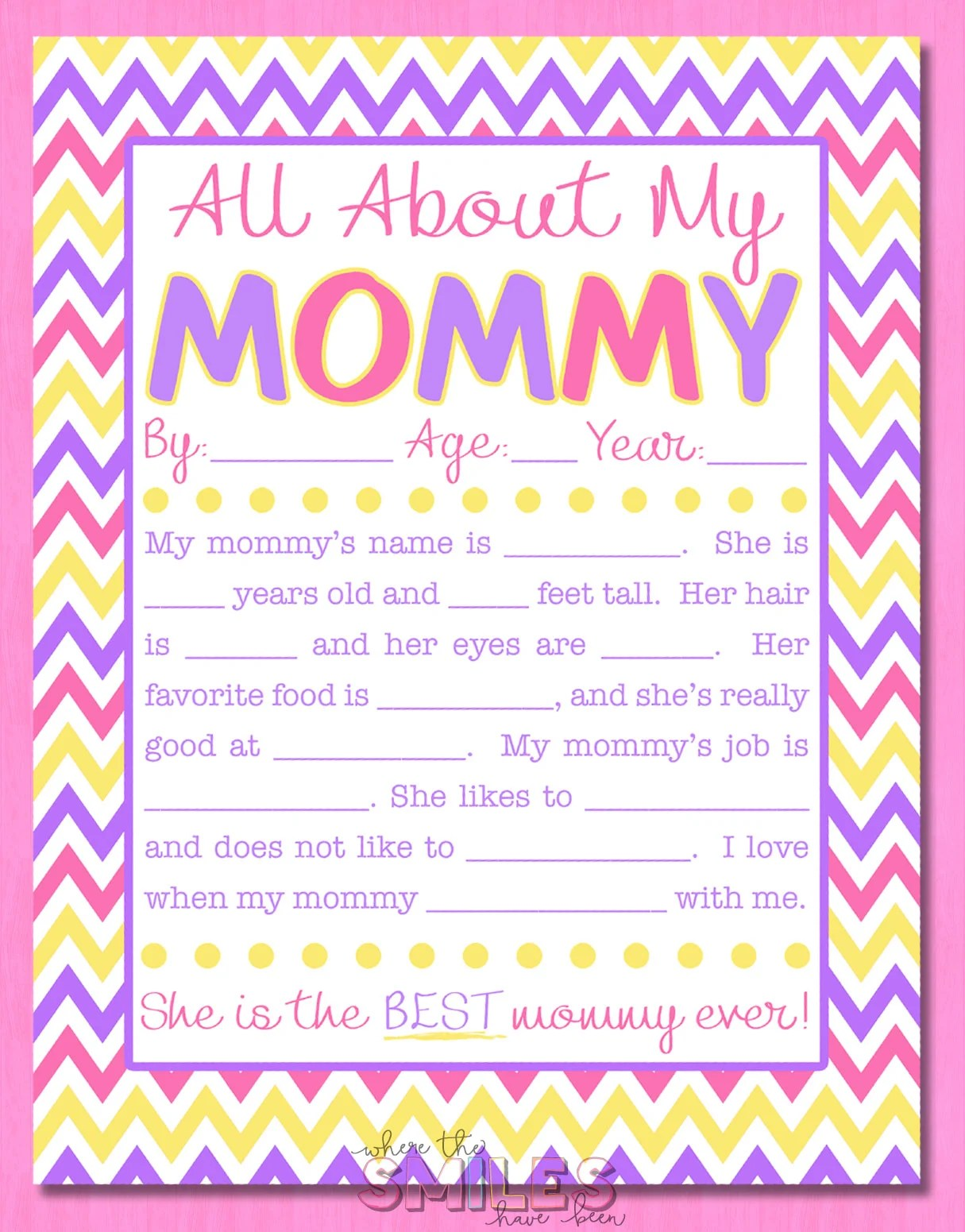 Captivating All About My Mommy Interview With FREE Printable! Where The Smiles Have  Been #MothersDay