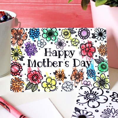 Free Printable Mother's Day Coloring Page & Card (Cut Files Too!)