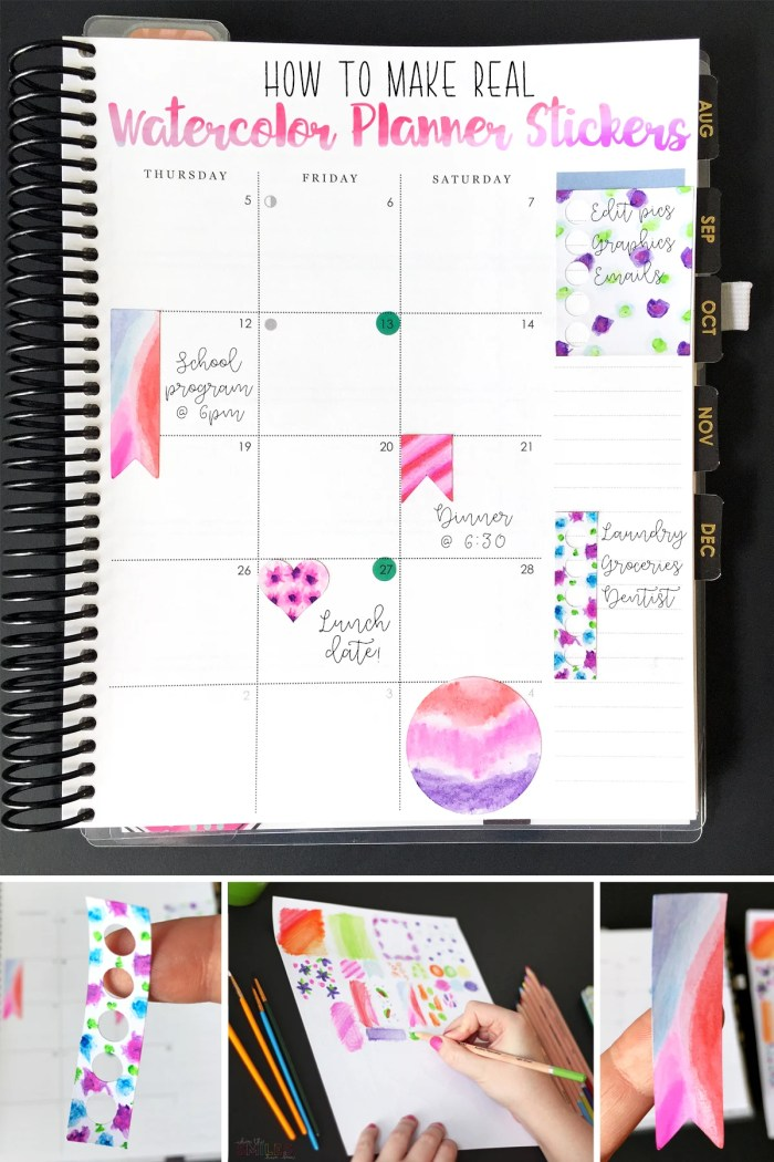 how to make watercolor planner stickers using watercolor pencils where the smiles have been