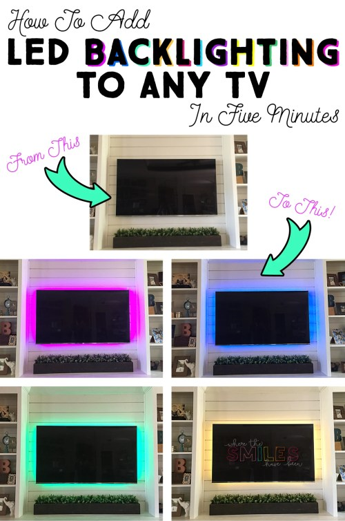 How to Add LED Backlighting to Any TV in Five Minutes!   Where The Smiles Have Been #TV #LED #TVbacklighting #home #homedecor #homeimprovement
