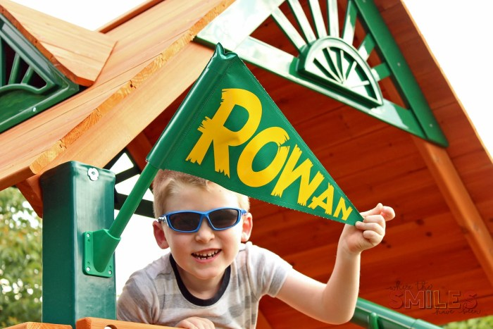 DIY Personalized Flags for a Backyard Playset | Where The Smiles Have Been #playset #flags #personalized #outdoorkidspace #backyard