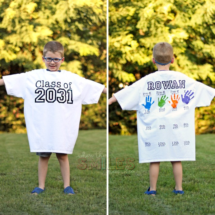 DIY Back-to-School Shirt with Handprints for Every Grade! | Where The Smiles Have Been #school #backtoschool #backtoschoolshirt #graduation #gradparty #keepsake #handprints