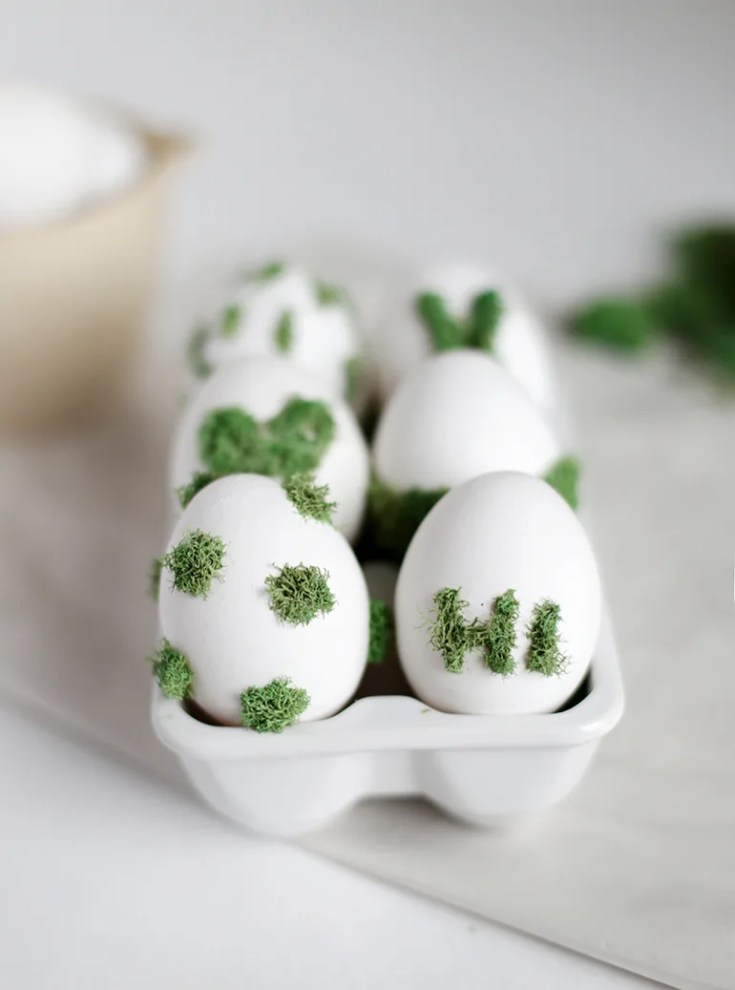 Fun Moss Designs on Eggs