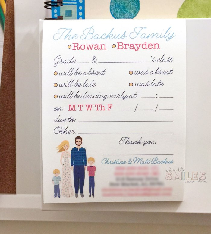 Personalized School Excuse Notepad - Where The Smiles Have Been #school #notepad #personalized #stationery #familyportrait