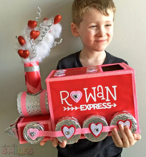 DIY Valentine Box: All Aboard the Love Train! | Where The Smiles Have Been #Valentine #ValentinesDay #ValentineBox #SchoolValentine #SchoolParty #LoveTrain #TrainValentine #UpcycleCraft