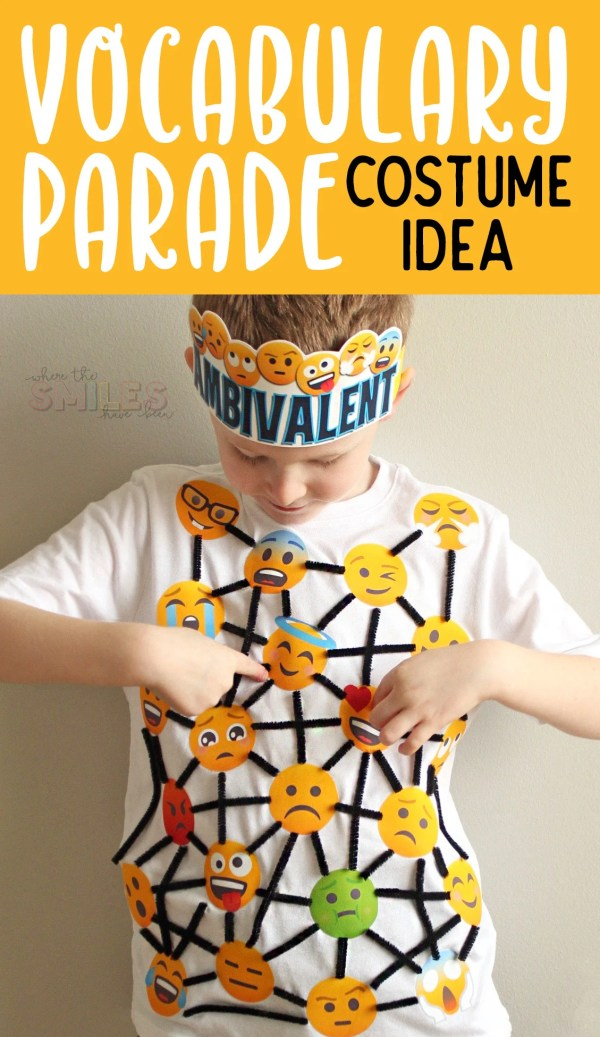 Vocabulary Parade Costume Idea: Ambivalent | Where The Smiles Have Been #VocabularyParade #SchoolProject #SchoolVocabularyParade #VocabularyParadeCostume #Emoji #PrintableHTV #Silhouette #Cricut