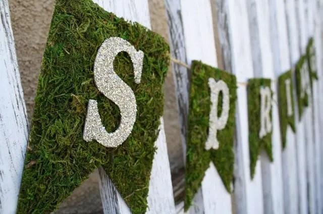 Spring Moss & Glitter Banner