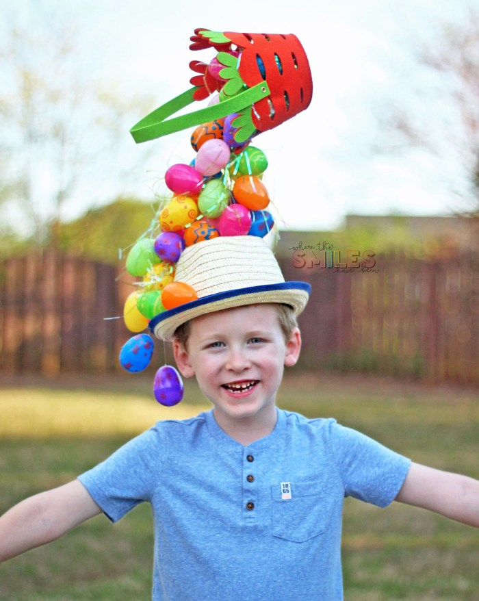 DIY Easter Hat: A Gravity-Defying Basket'O'Eggs! | Where The Smiles Have Been #Easter #EasterEggs #EasterBasket #EasterHat #EasterBonnet #EasterParty #EasterCraft #SpringCraft #DIYhat #Hat #KidCraft #GravityDefying