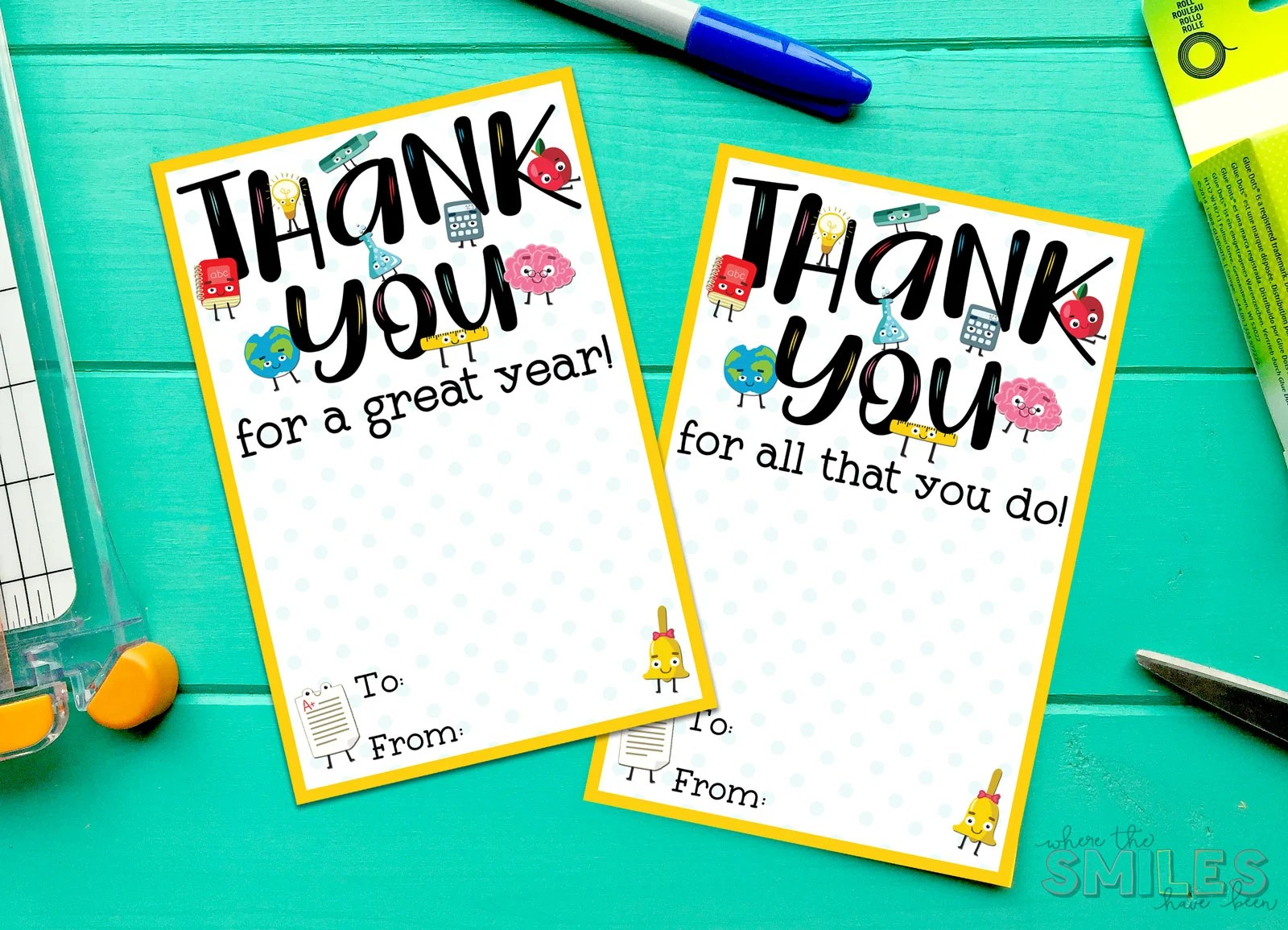 graphic regarding Free Printable Teacher Appreciation Cards to Color named Absolutely free Instructor Appreciation Thank By yourself Printable - 2 Products!