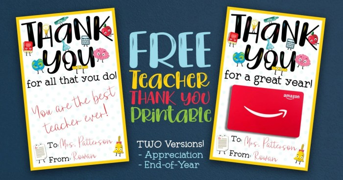 Free Teacher Appreciation Thank You Printable Two Versions