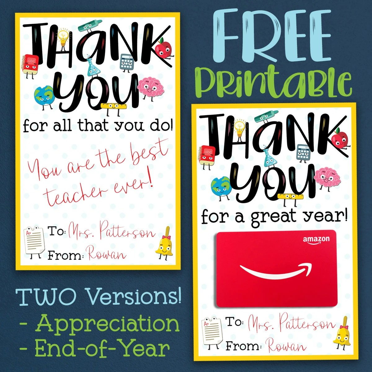 photo regarding Free Printable Teacher Appreciation Tags named Absolutely free Instructor Appreciation Thank Your self Printable - 2 Models!