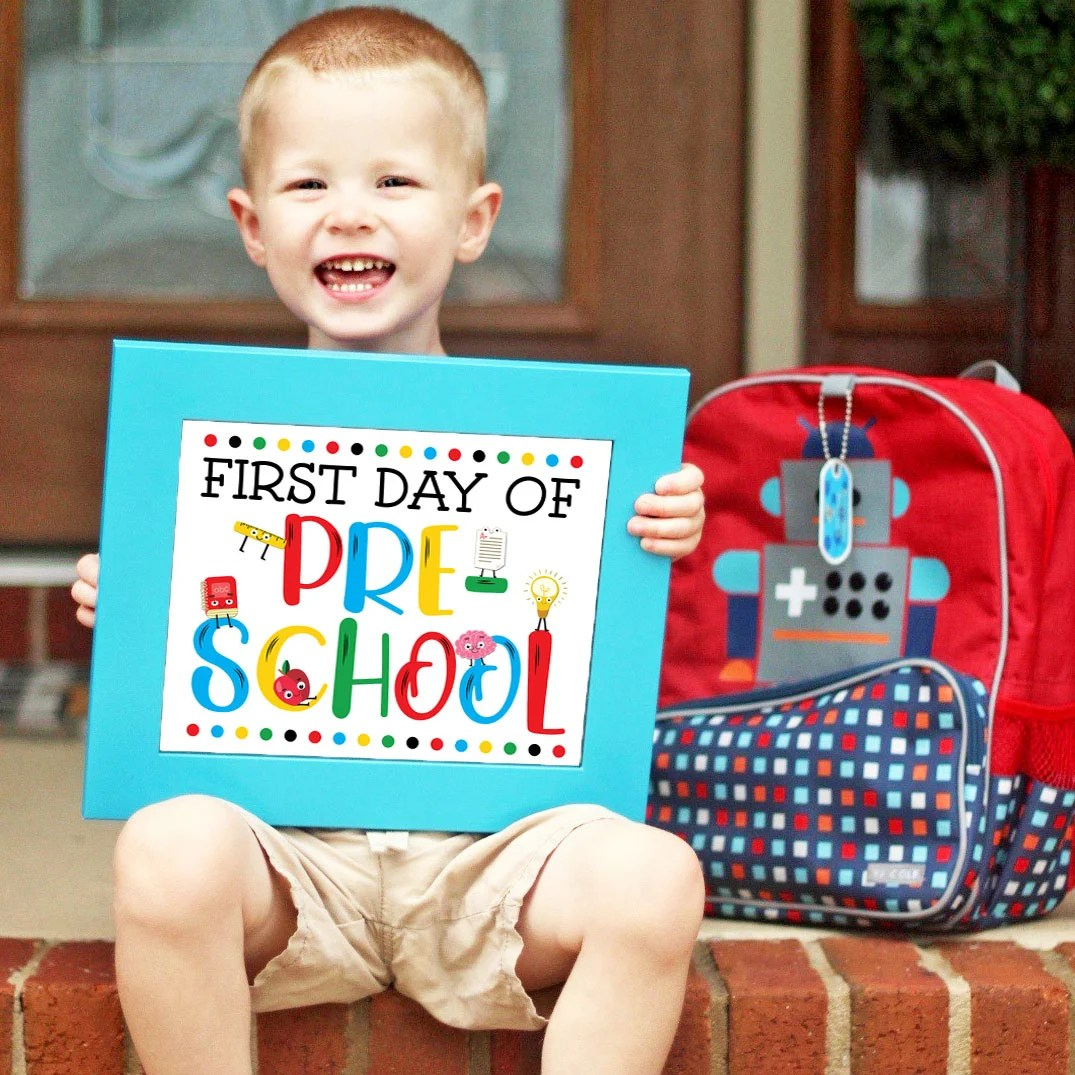 graphic about Free Printable Templates for 1st Day of School Signs for Boys identified as Free of charge Very first Working day of College or university Indication Printables - A few Coloration Styles!