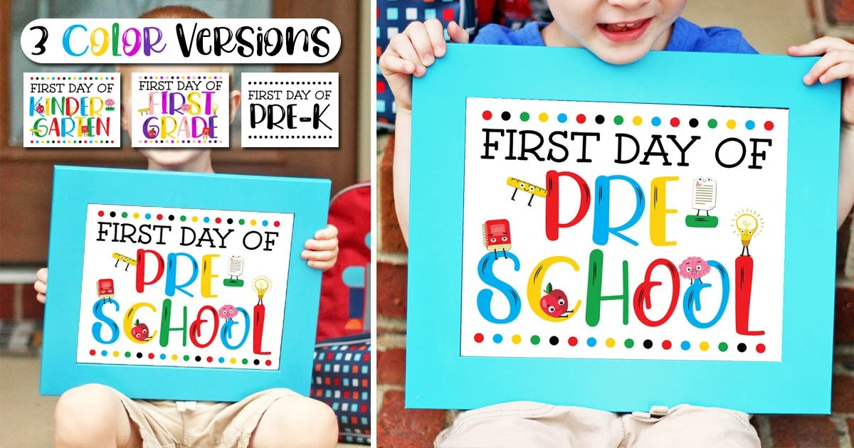 photograph about First Day of Pre K Sign Printable referred to as Absolutely free To start with Working day of Faculty Indicator Printables - 3 Coloration Products!