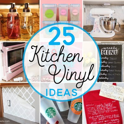 Here are 25 creative DIY kitchen vinyl ideas that are pretty AND practical! Whether it's vinyl, heat transfer vinyl, printable vinyl, or even car wrap vinyl, you don't want to miss these inspiring ideas (lots include FREE cut files, too)! | Where The Smiles Have Been #vinyl #kitchen #home #homeimprovement #organization #Silhouette #Cricut #freecutfile #heattransfervinyl #HTV