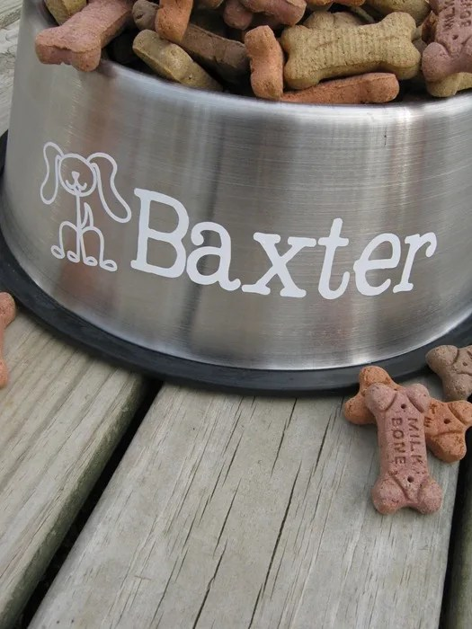 Personalized Pet Food/Water Bowl with a Vinyl Decal