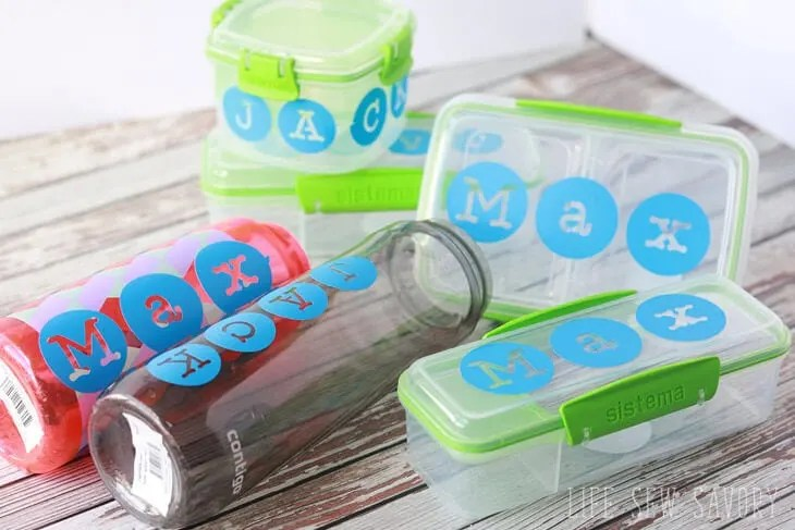 Personalized Vinyl Decals on Lunch & Snack Boxes