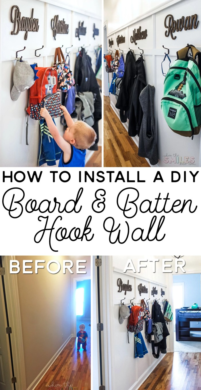 DIY Board and Batten Wall with Hooks: A Mini Hallway Mudroom! | Where The Smiles Have Been #boardandbatten #homeimprovement #home #DIY #organization