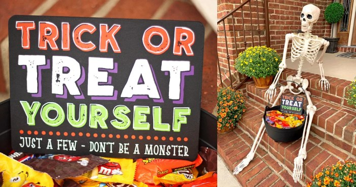 DIY 'Trick or Treat Yourself' Halloween Candy Bowl Sign + FREE Cut File | Where The Smiles Have Been #Halloween #TrickOrTreat #TrickOrTreatYourself #HalloweenCandy #Candy #CandyBowl #Silhouette #Cricut #Vinyl #Fall #October #HalloweenDecor #Sign #DIYsign