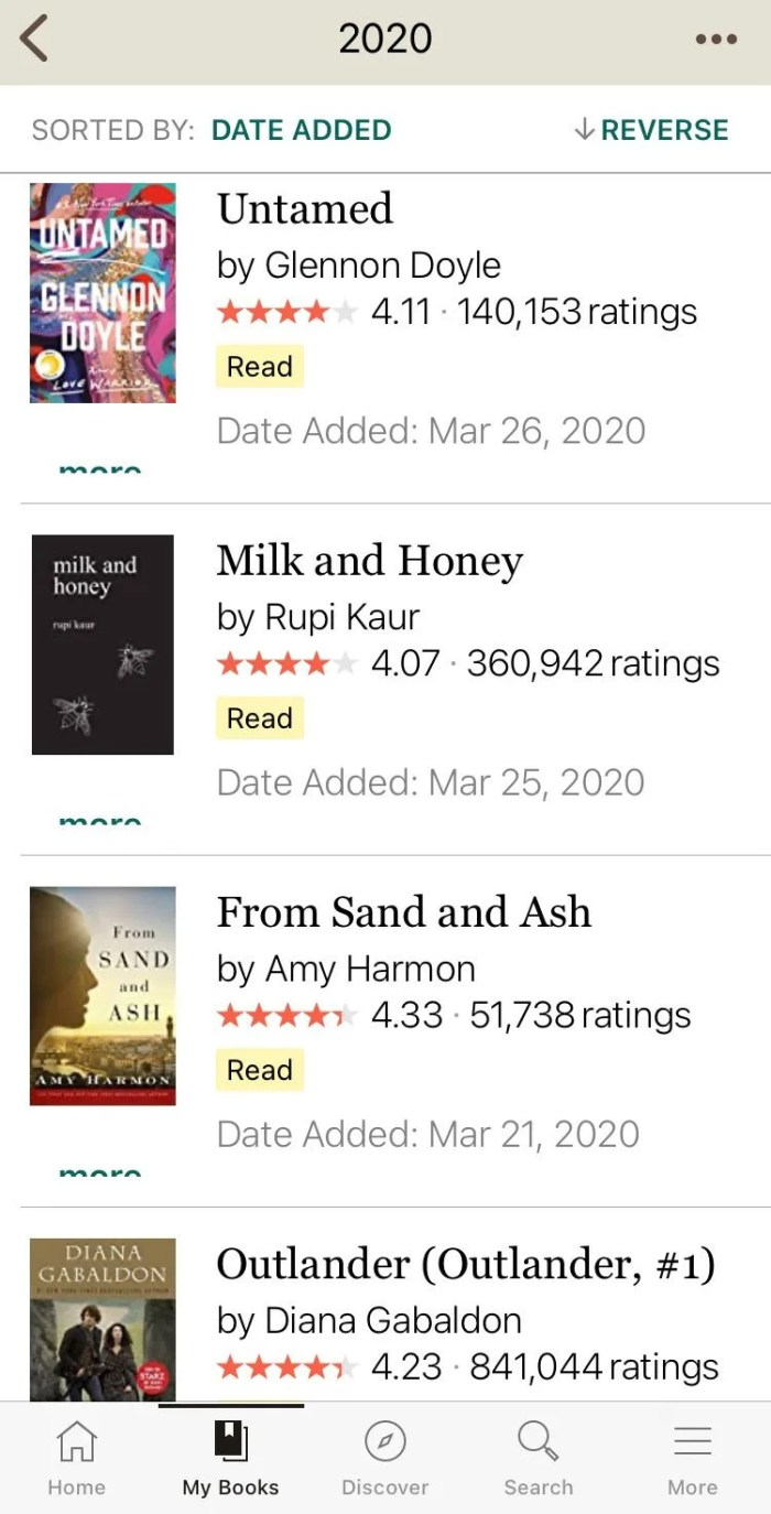 Goodreads App Bookshelf Screenshot #Goodreads #reading #books #readingtracker