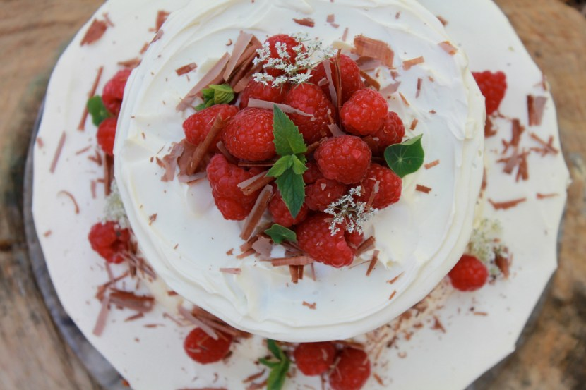 Chocolate Cake with Raspberries & Cream Cheese Frosting