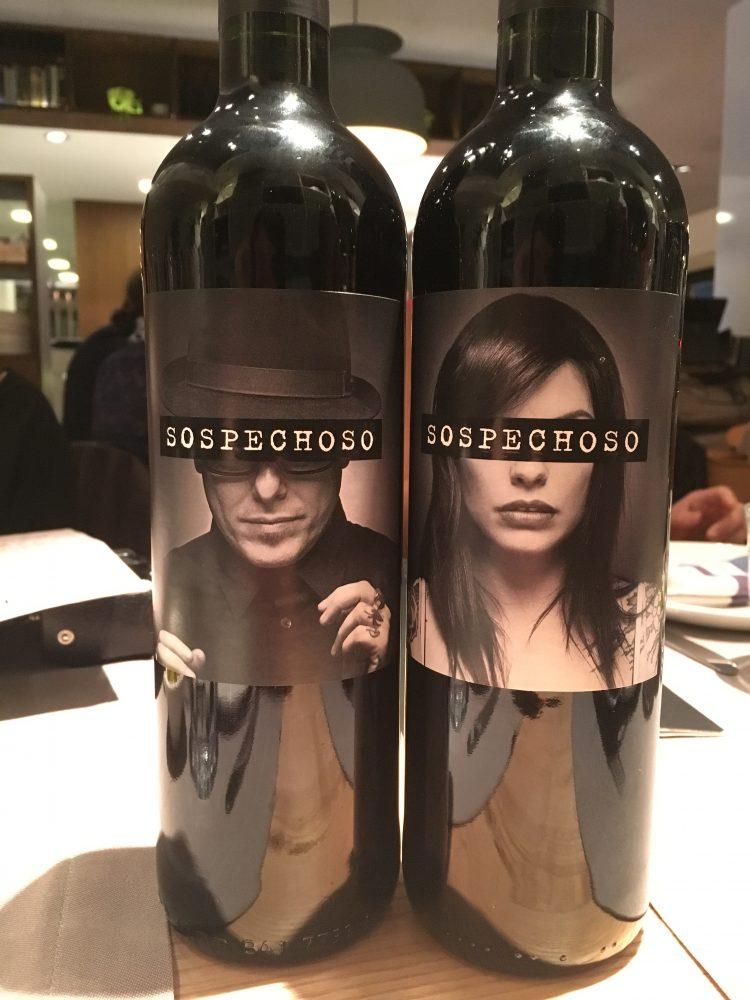 Restaurante Orgaz Madrid. Vino Sospechoso. Red Wine.