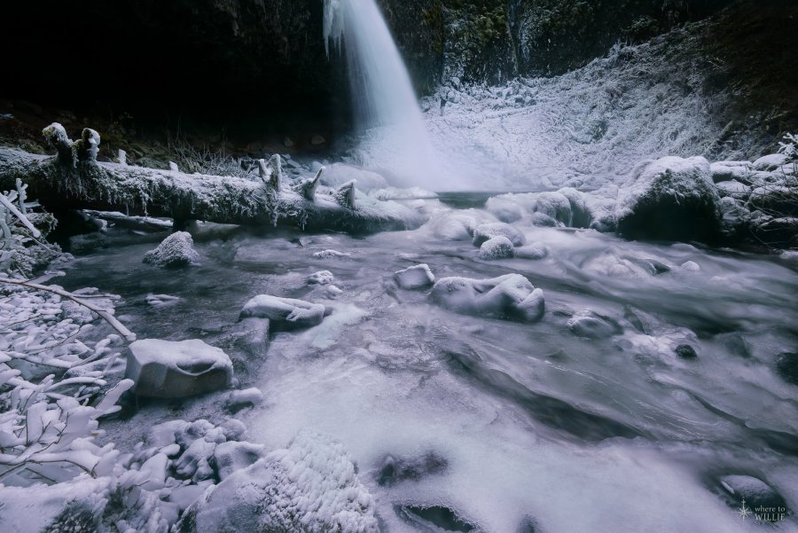 frozen waterfall upper horsetail falls oregon william woodward