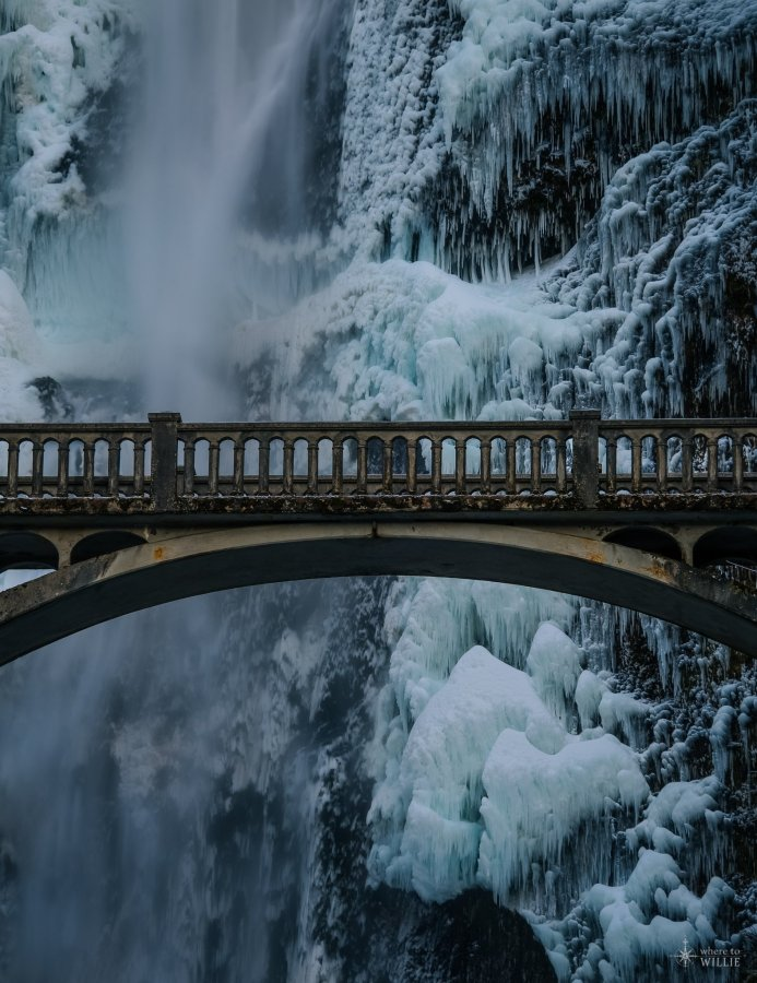 ice waterfall multnomah falls oregon william woodward