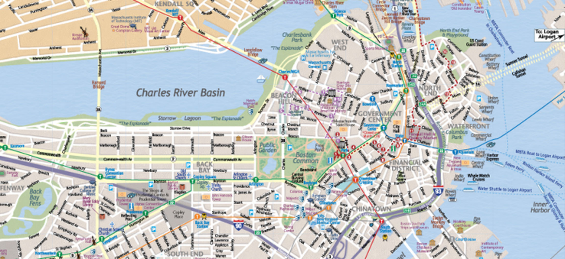 Map of Boston Massachusetts Interactive and Printable